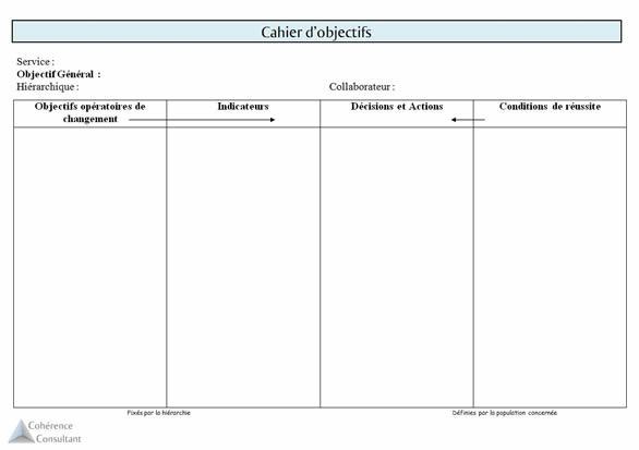 cahier d'objectifs